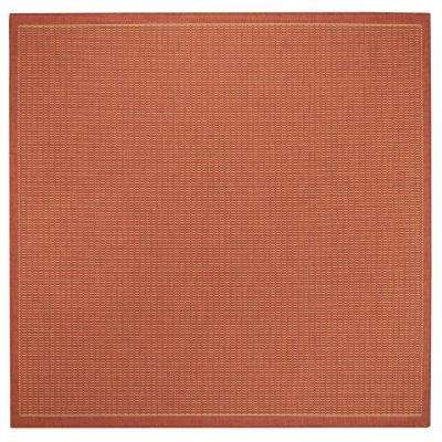 Saddlestitch Terracotta/Natural 8 ft. Square Area Rug