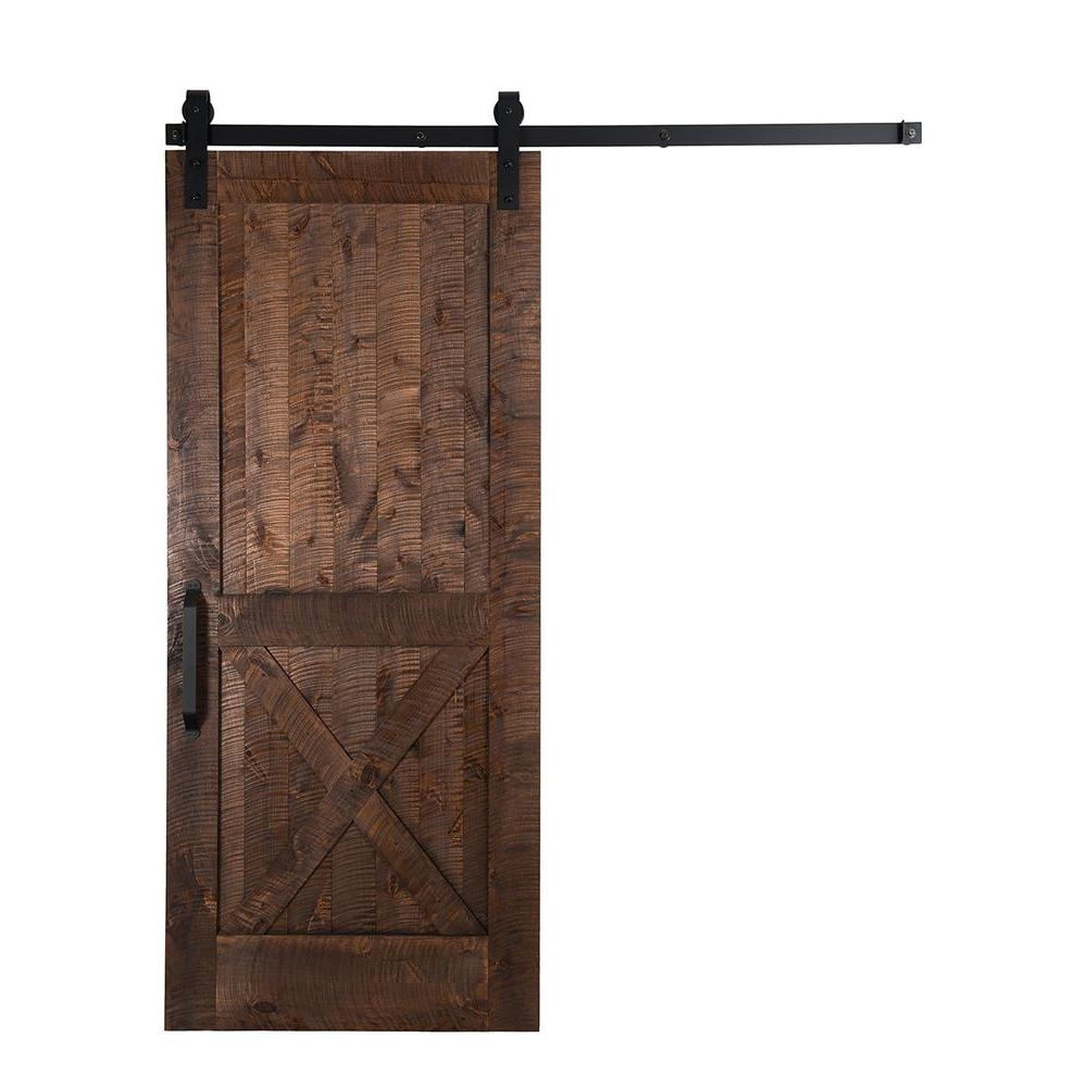 Rustica Hardware 36 in. x 84 in. Stain, Glaze, Clear Rockwell Rough Sawn Unassembled Wood Sliding Barn Door with Hardware Kit