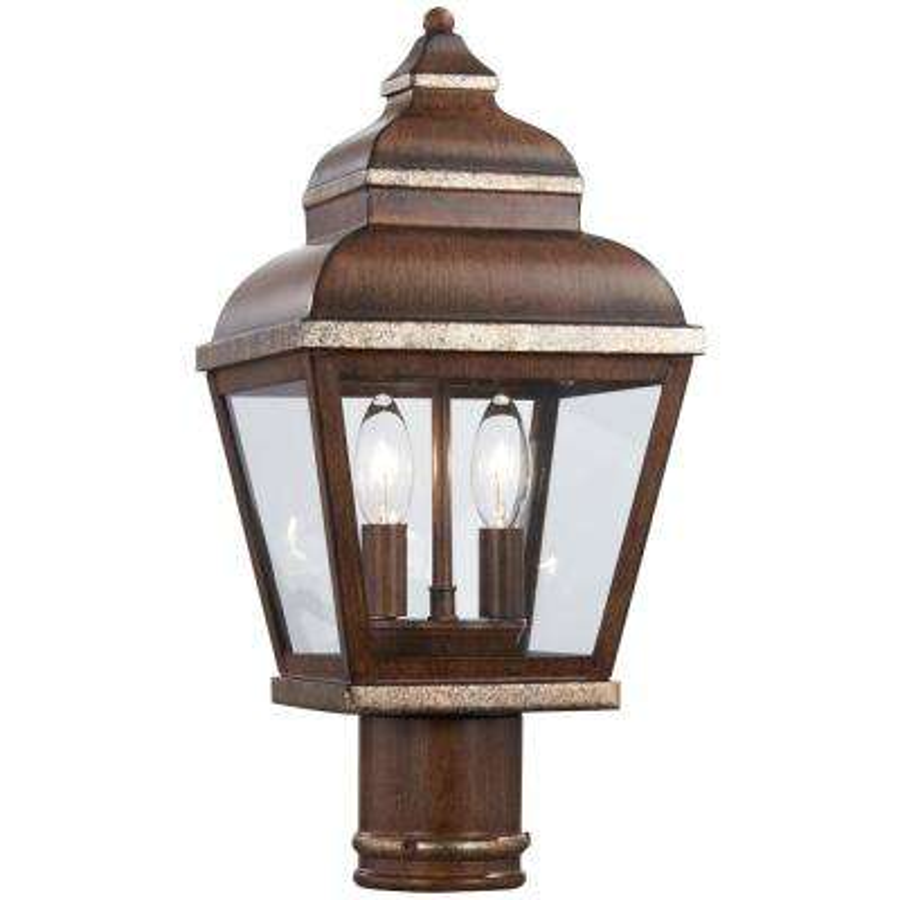 Mossoro 2-Light Outdoor Mossoro Walnut with Silver Highlights Post Mount Lantern