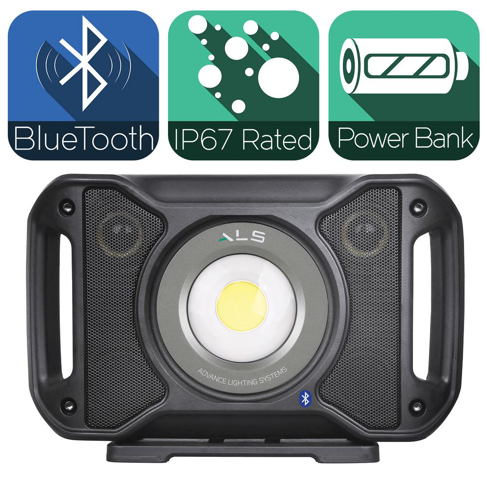 Advanced Lighting Systems 5 000 Lumens Led Rechargeable Bluetooth Audio Work Light With Integrated Bank