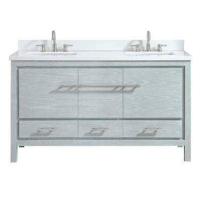 Riley 61 in. W x 22 in. D Bath Vanity in Sea Salt Gray with Engineered Stone Vanity Top in White and White Basin