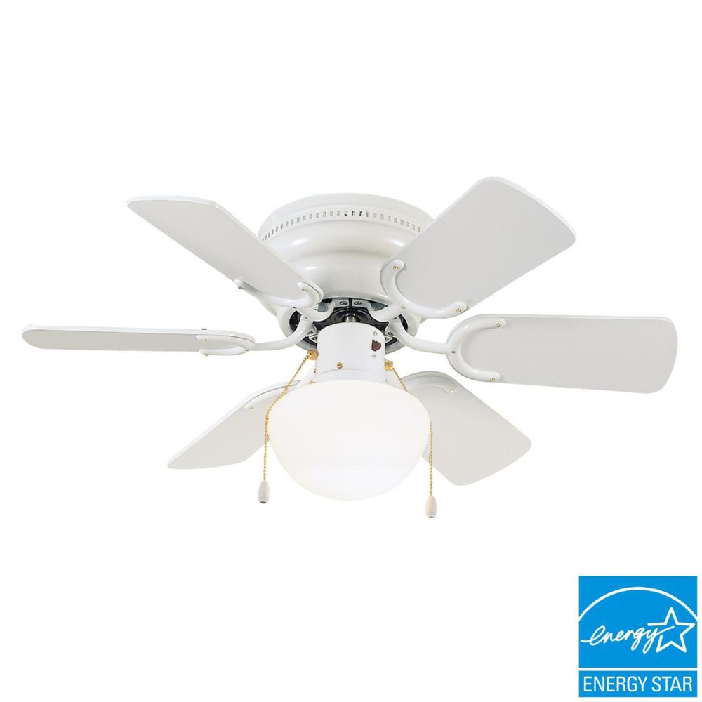 Atrium 30 in. White Ceiling Hugger Fan