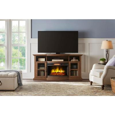 Barden 59 in. Freestanding Electric Fireplace TV Stand in Antique Coffee
