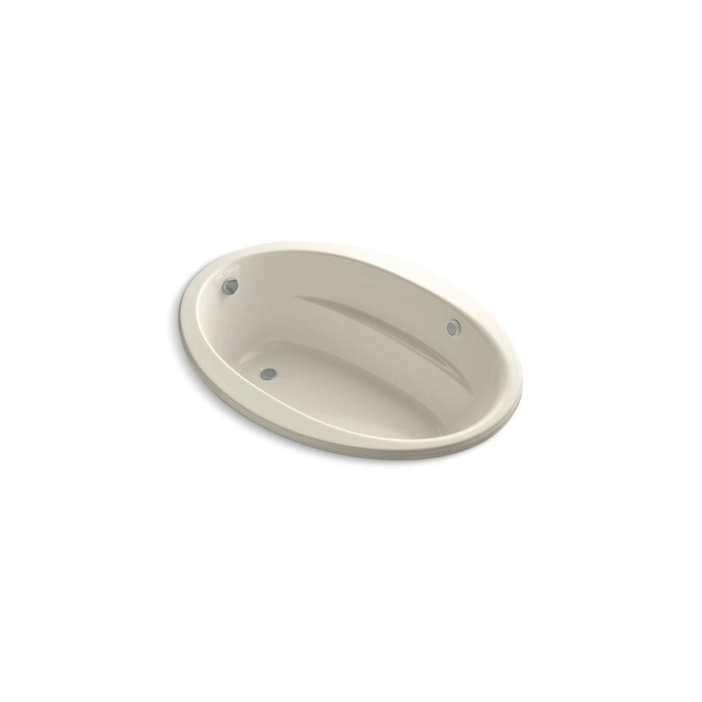 KOHLER Sunward 5 ft. Acrylic Oval Drop-in Whirlpool Bathtub in Almond