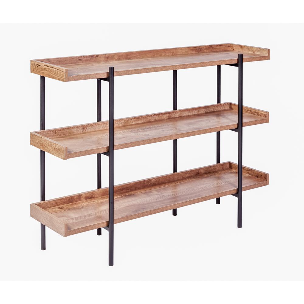 36.25 in. Classic Oak/Black Metal 3-shelf Accent Bookcase with Open Back