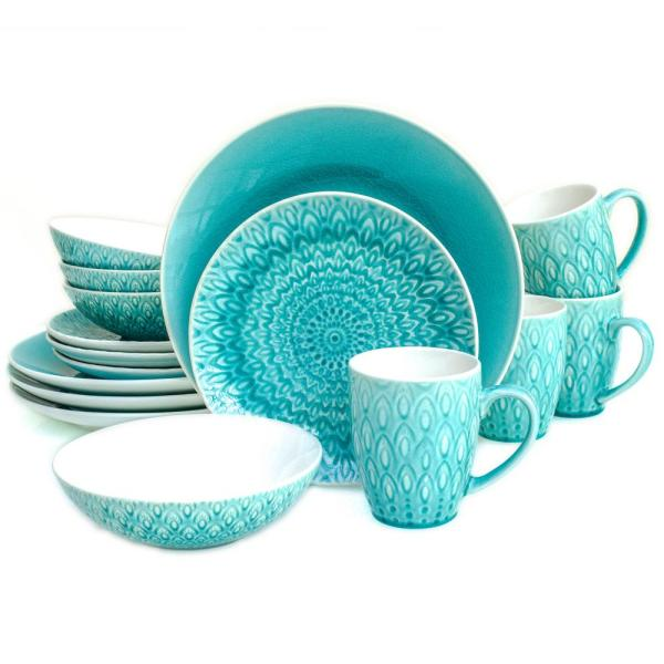 Euro Ceramica Peacock 16 Piece Lagoon Crackle-glaze Dinnerware Set PK-20705LN