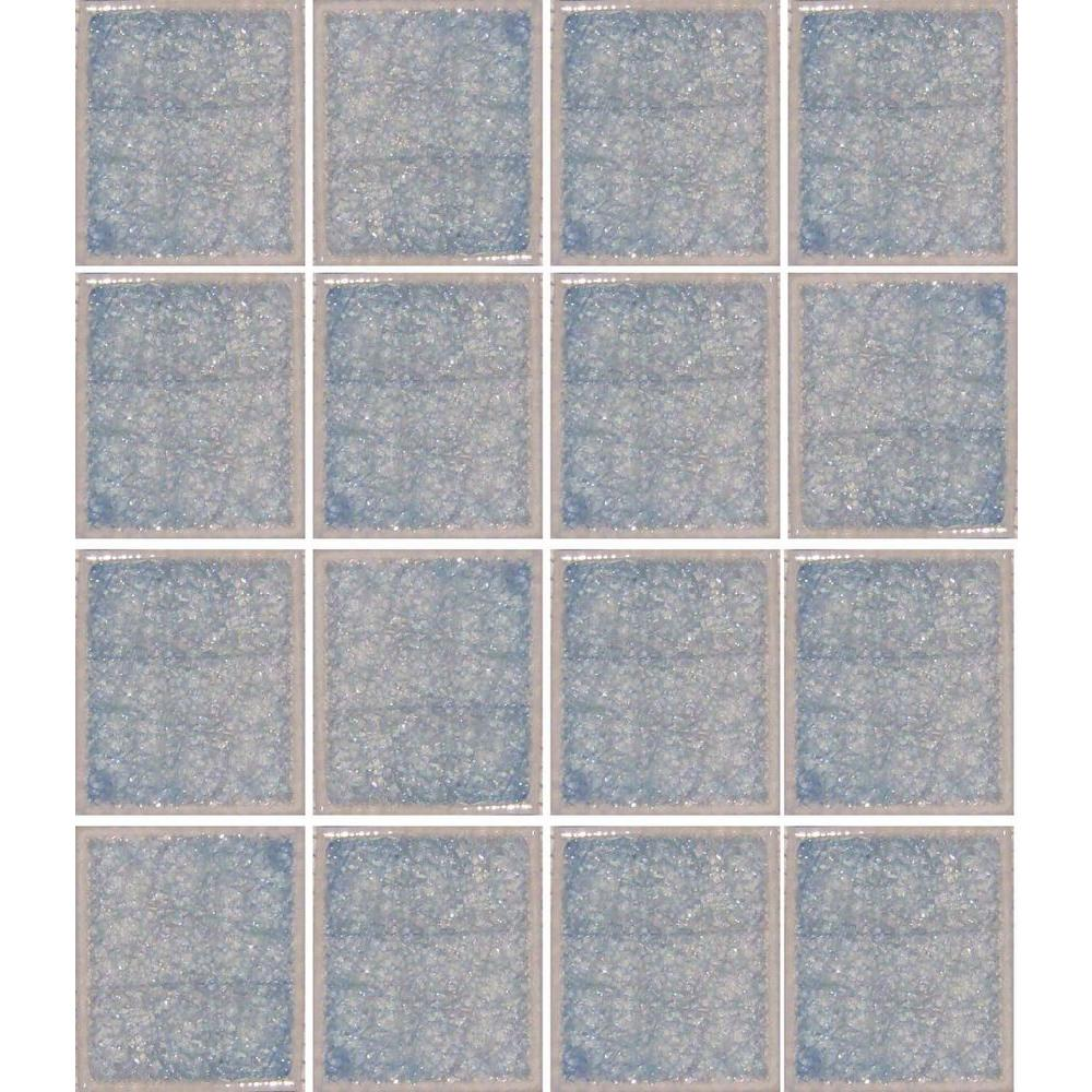 Epoch Architectural Surfaces Oceanz Arctic Blue-1726 Crackled Glass Mesh Mounted Tile - 3 in. x 3 in. Tile Sample