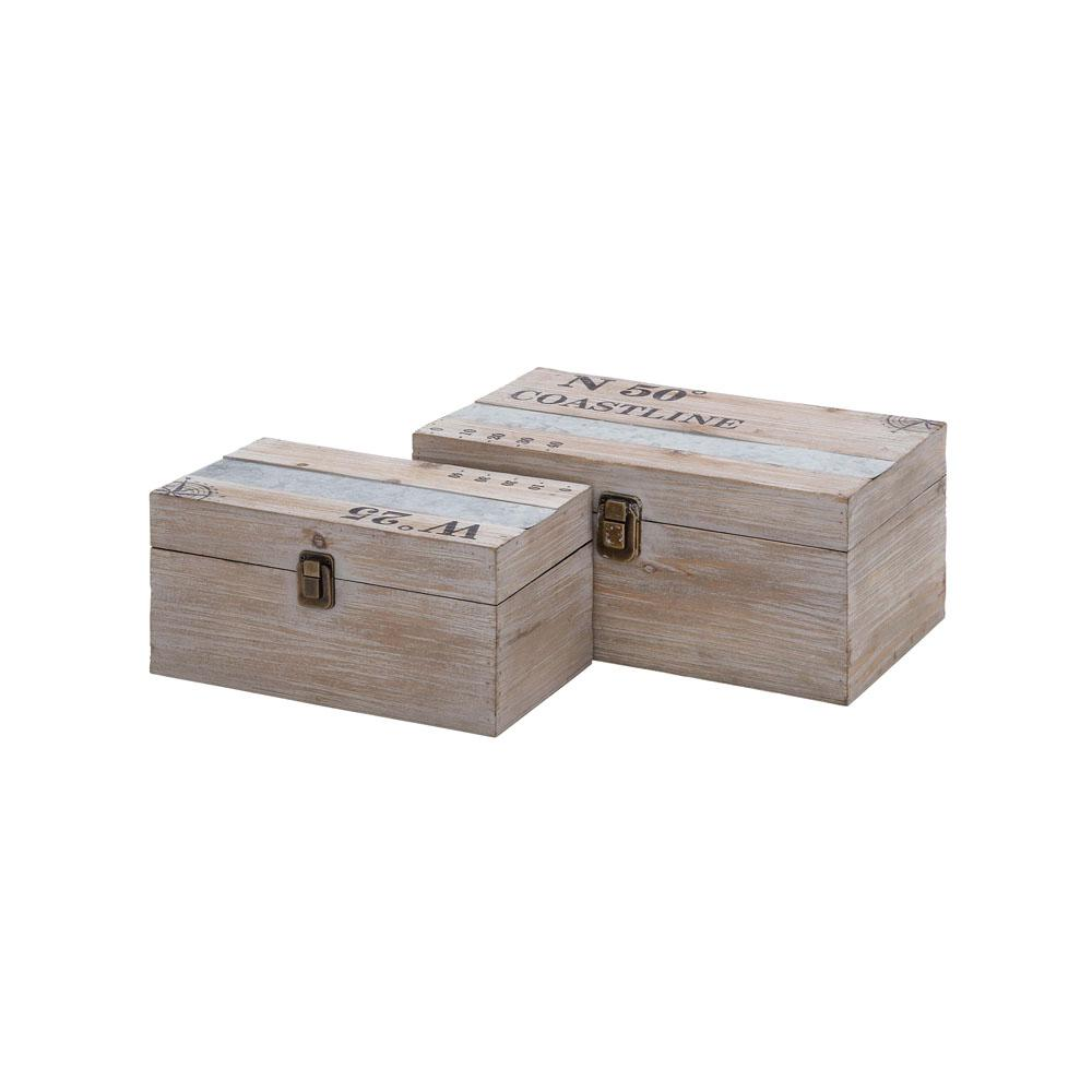 Rectangular Fir Wood And Galvanized Steel Decorative Boxes With Lid