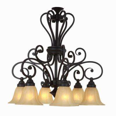 Florence Collection 6-Light Sierra Slate Chandelier with Champagne Glass Shade