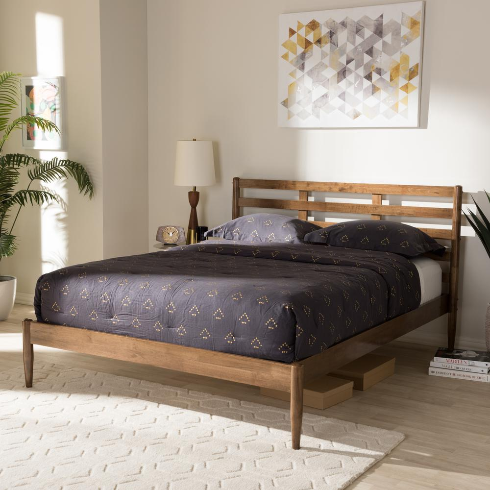 Opal Medium Brown Wood Full Platform Bed