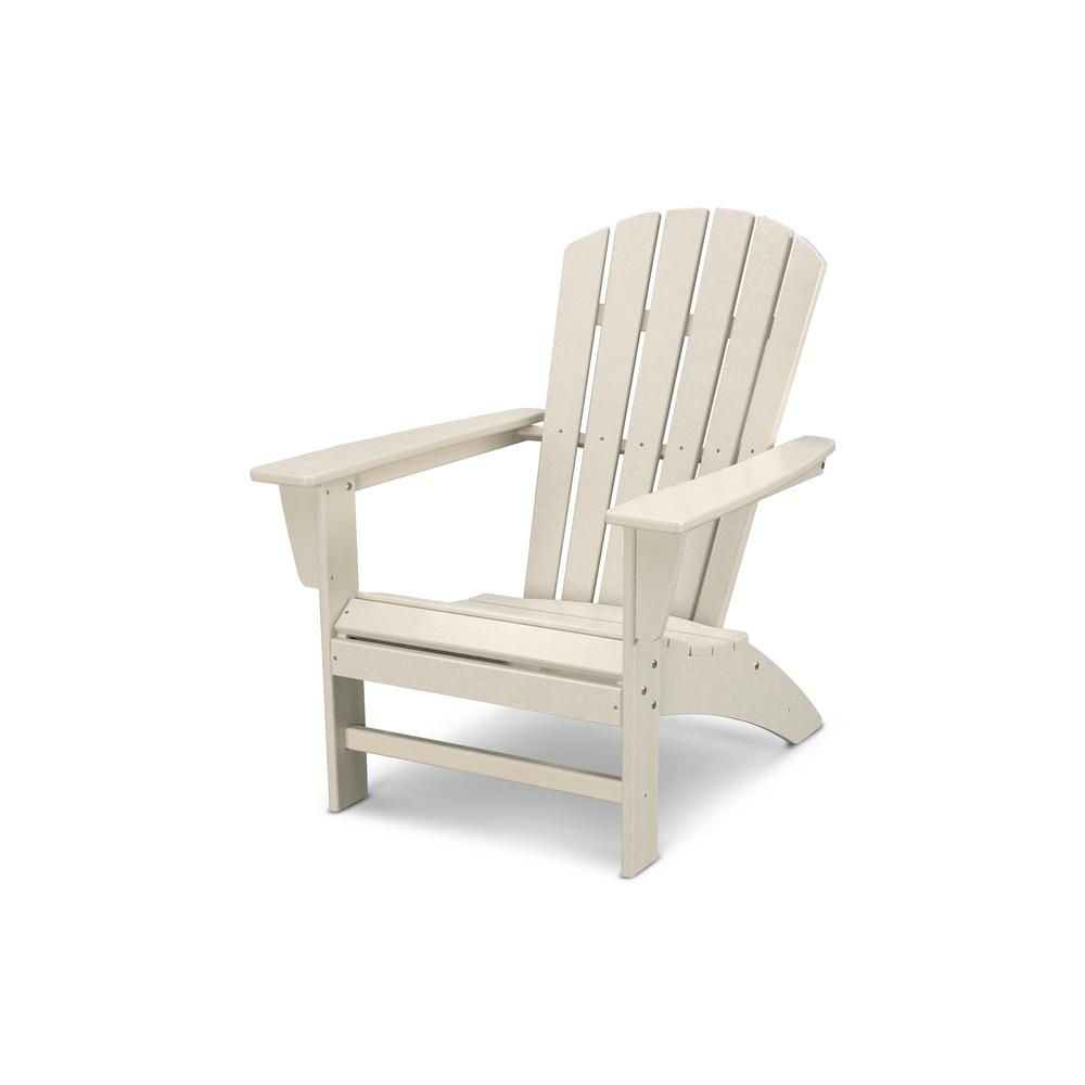 Polywood Traditional Curveback Sand Plastic Outdoor Patio Adirondack Chair