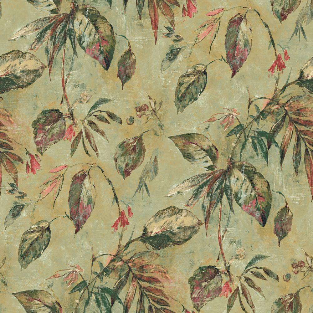 The Wallpaper Company 8 in. x 10 in. Green Tropical Vines Wallpaper Sample