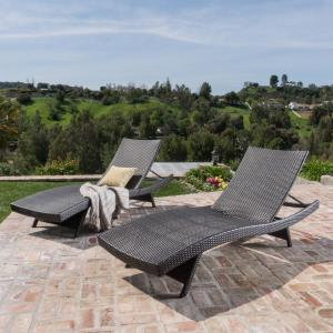 Salem Multi-Brown 2-Piece Wicker Outdoor Chaise Lounge