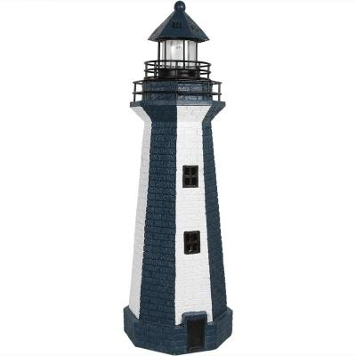 36 in. Blue Vertical Stripe Solar LED Lighthouse Garden Statue