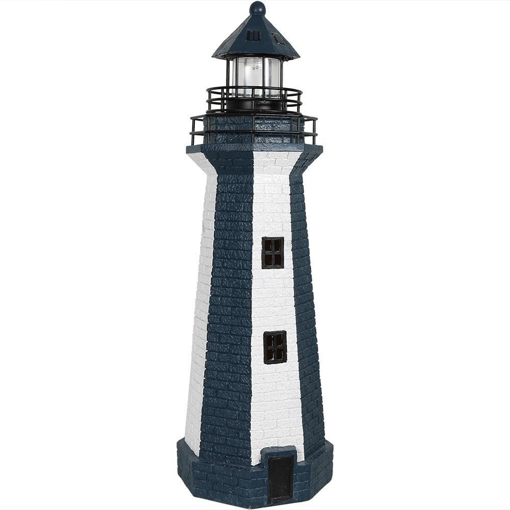 36 in. Blue Vertical Stripe Solar LED Lighthouse Garden Statue