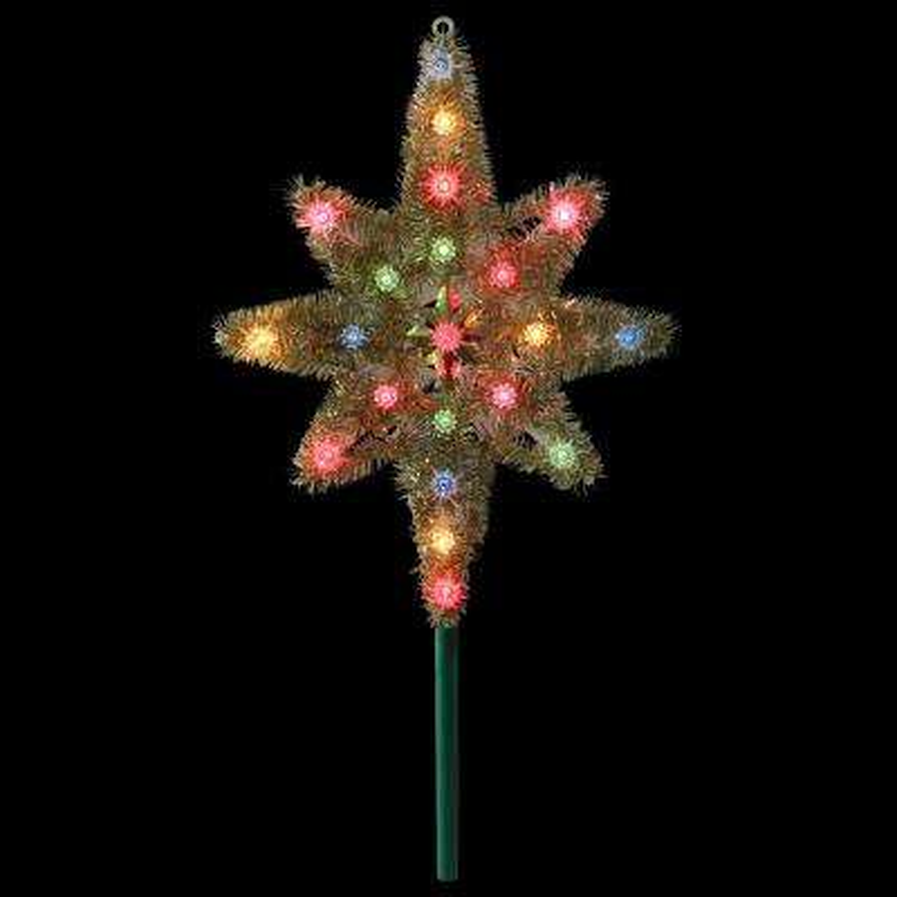 21 in. Gold Tinsel Star of Bethlehem Christmas Tree Topper in Multi-Lights