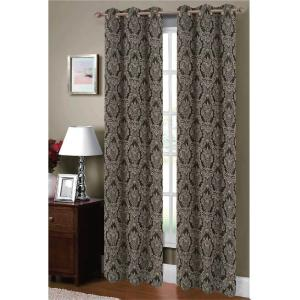 Window Elements Semi-Opaque Adelle Flocked Faux Silk 84 inch L Grommet Curtain Panel Pair, Black/Silver (Set of 2) by Window Elements