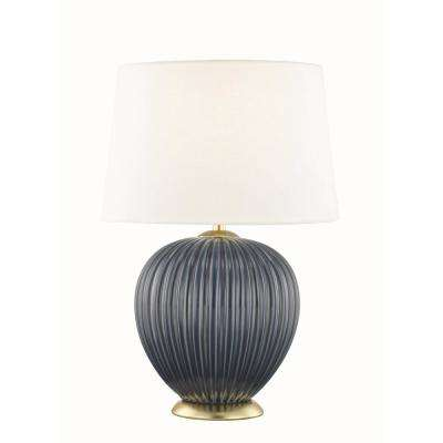 Jessa 21 in. High Denim Blue Table Lamp with Off White Linen Shade
