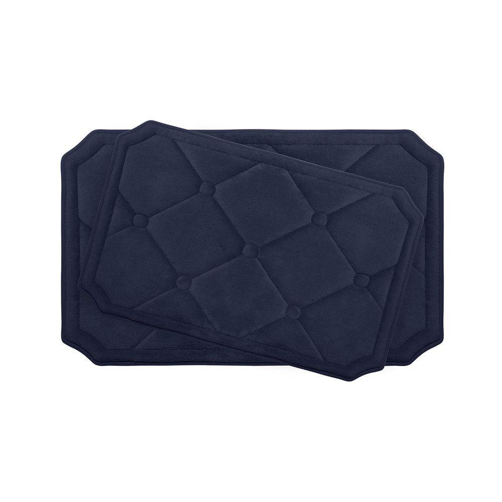 Gertie Indigo 20 in. x 32 in. Memory Foam 2-Piece Bath Mat Set