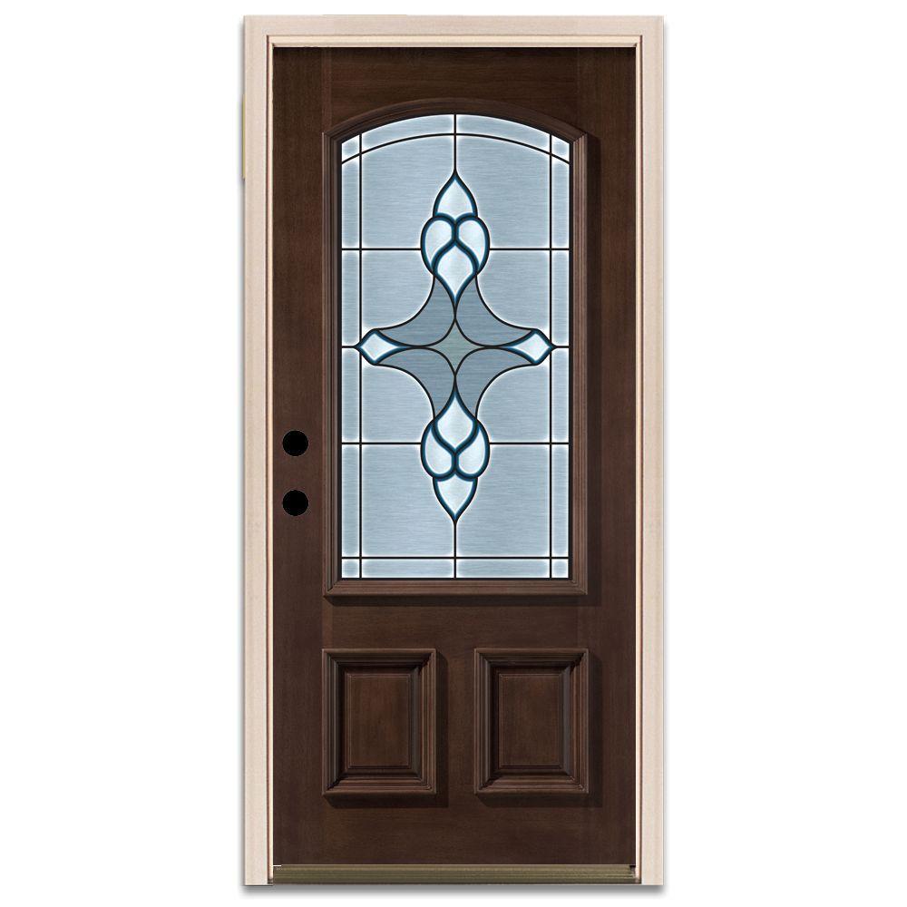 Steves & Sons Trenton 3/4-Arch Lite Prefinished Mahogany Wood Prehung Front Door
