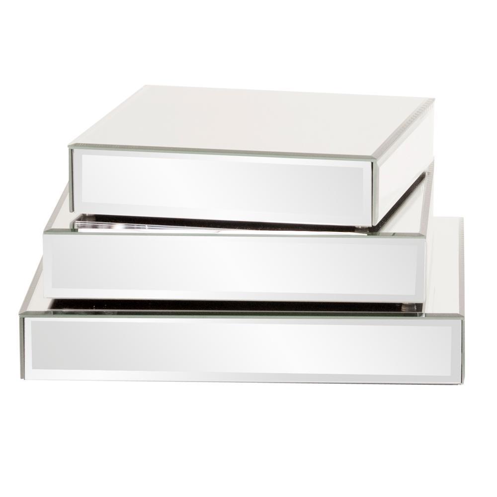 Square Mirrored Display Platforms (Set of 3)