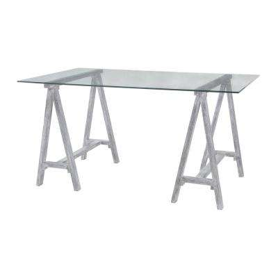 Coastal Cool Sandblasted Light Gray Wood and Clear Glass Architects Desk