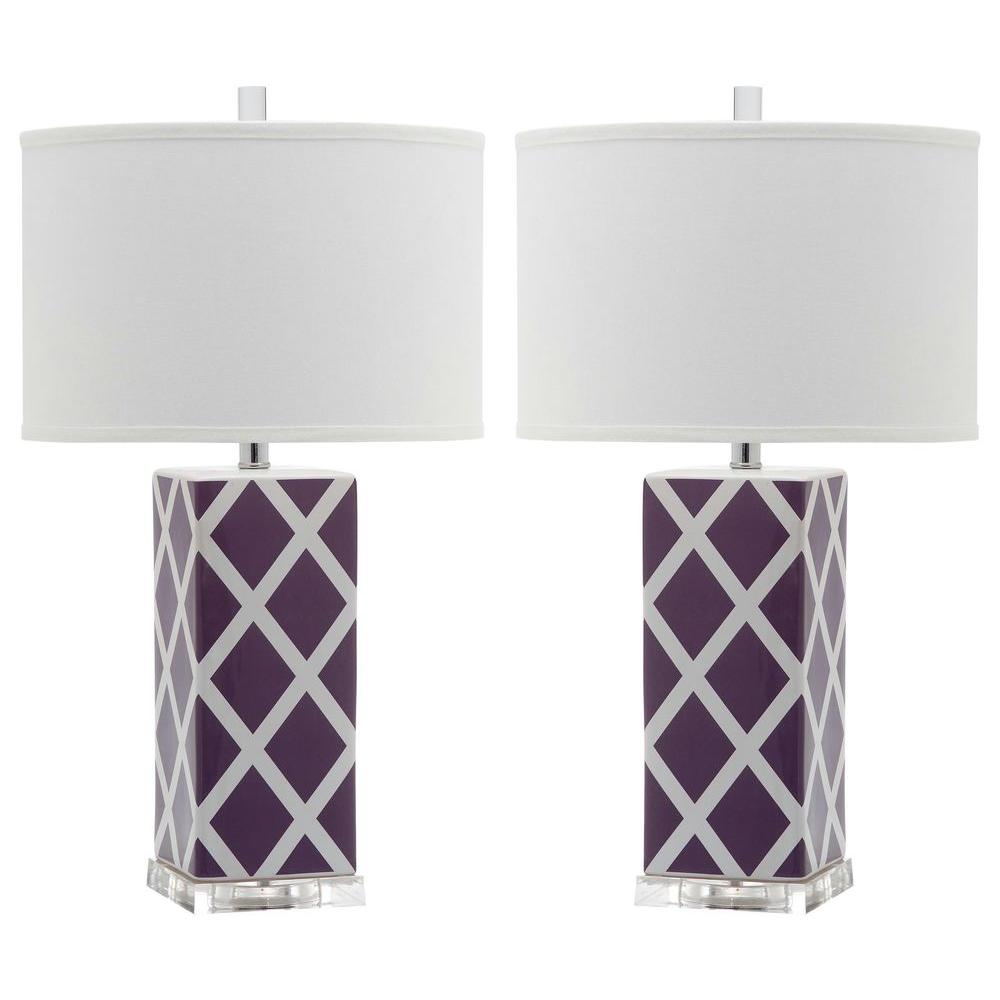 Safavieh garden 27 in light purple lattice table lamp set of 2 light purple lattice table lamp set of 2 geotapseo Gallery