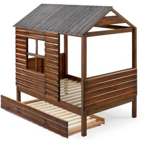 Log Cabin Rustic Walnut and Silver Twin Low Loft Bed with Twin Trundle Bed