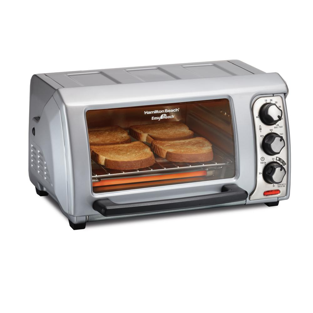 Hamilton Beach Easy Reach 1200 W 4-Slice Silver Toaster Oven with Roll Top Door -  31339
