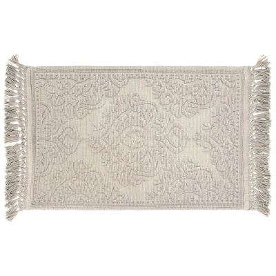 Ricardo Cotton Fringe 27 in. x 45 in. Bath Rug in Light Grey
