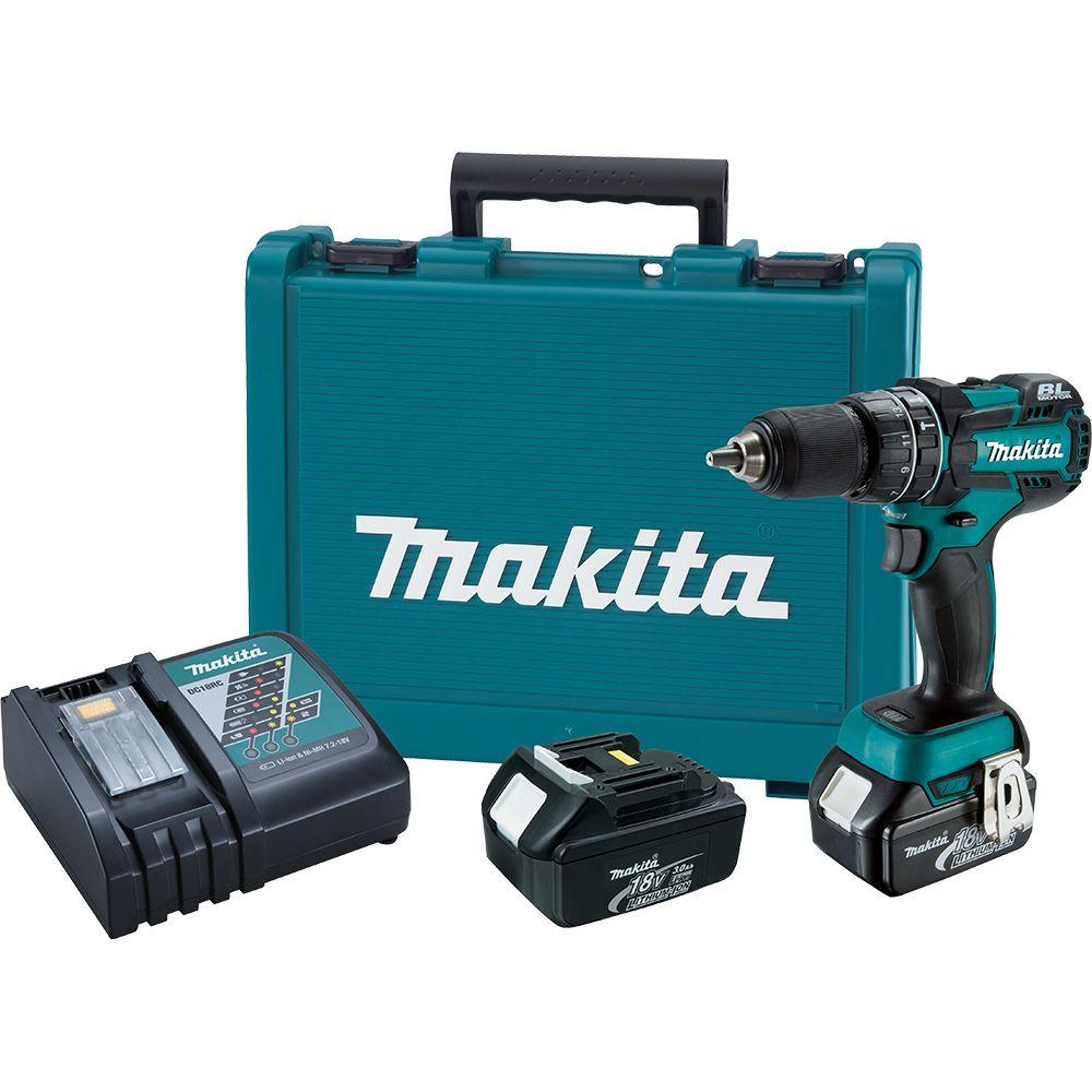 Makita 18-Volt LXT Lithium-Ion Brushless 1/2 in. Cordless Hammer Driver-Drill Kit with (2) Batteries(3.0Ah), Charger, Hard Case