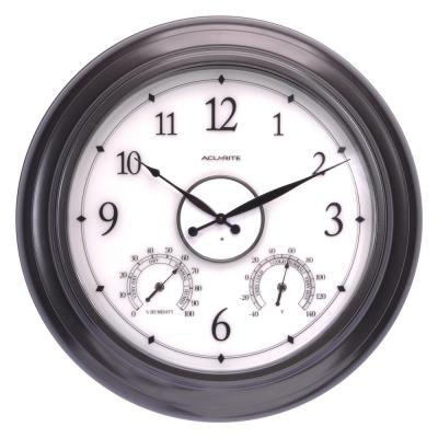 24 in. Illuminated Outdoor Clock with Thermometer and Humidity Sensor