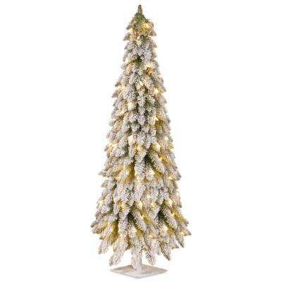 6 ft. Artificial Christmas Snowy Downswept Forestree with Clear Lights