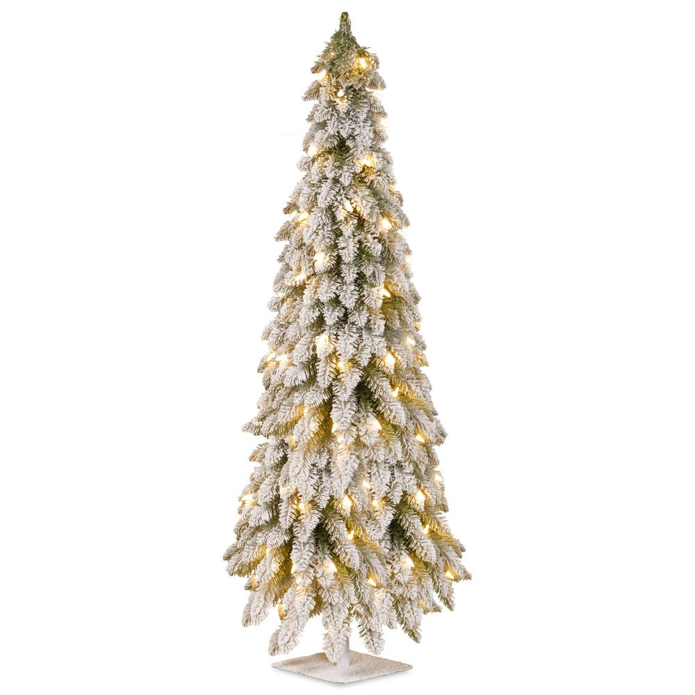 national tree company 5 ft artificial christmas snowy downswept forestree with clear lights
