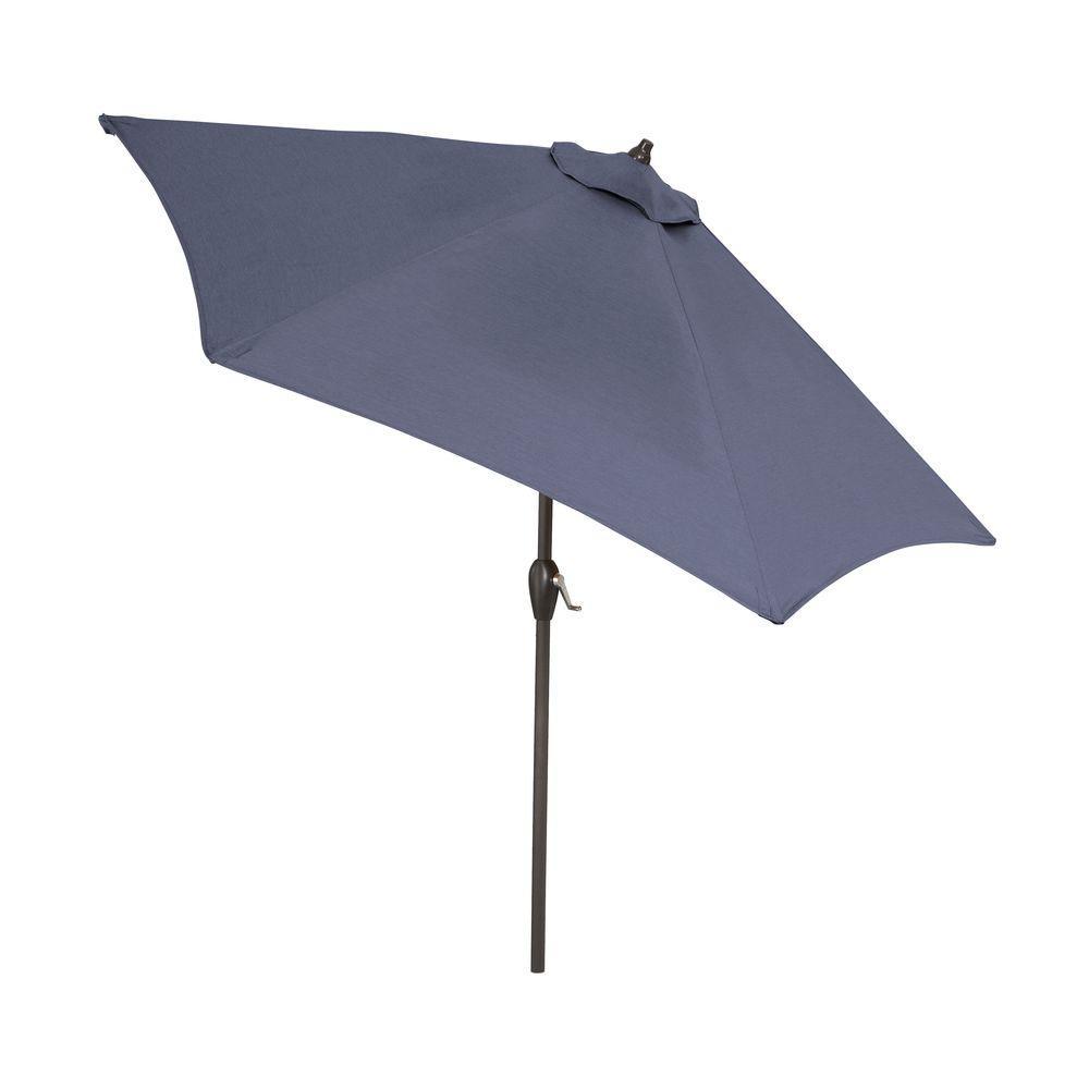 9 ft. Aluminum Patio Umbrella in Sky Blue with Push-Button Tilt