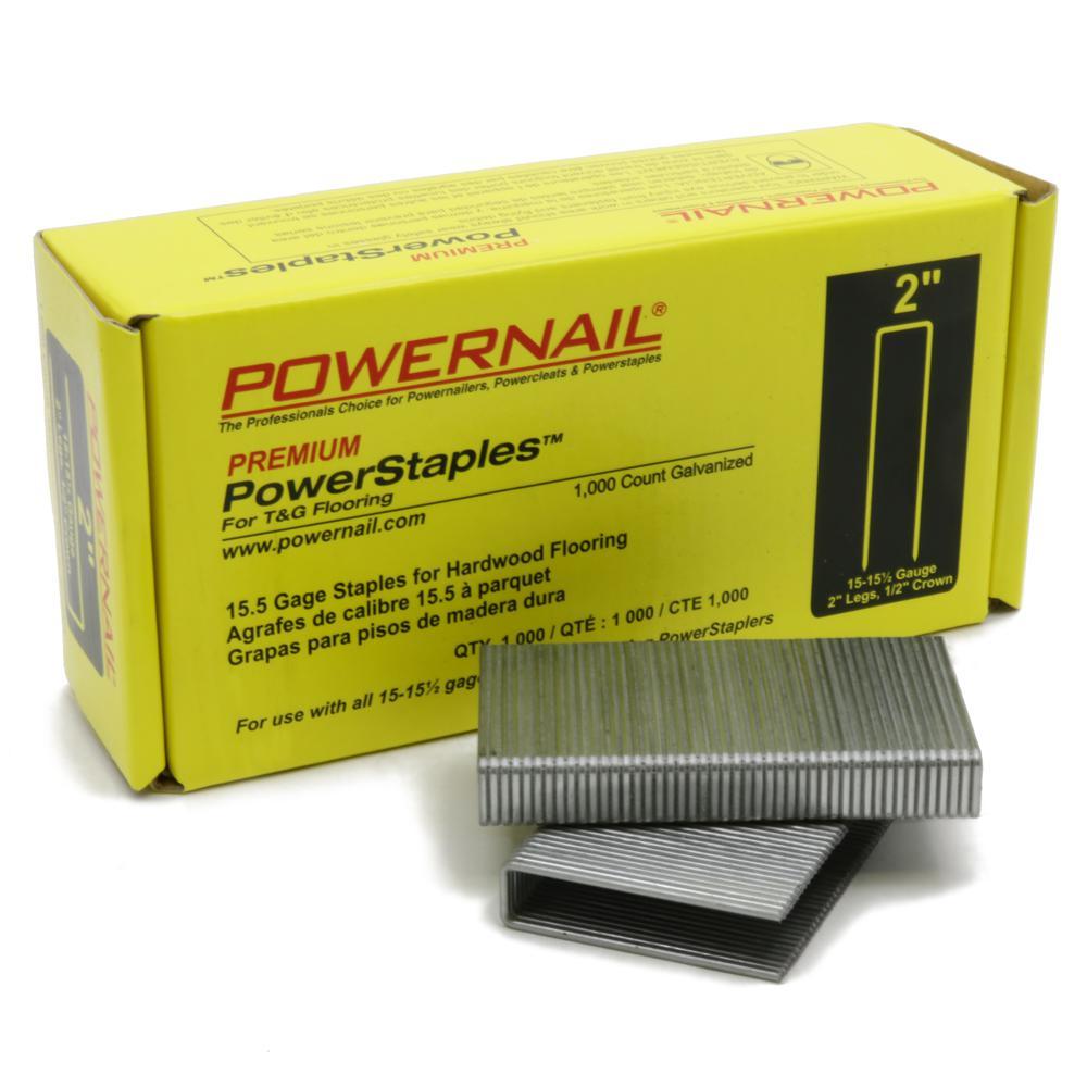 POWERNAIL PowerStaples 2 inch Leg x 1/2 inch Crown x 15-1/2-Gauge Steel Hardwood... by POWERNAIL