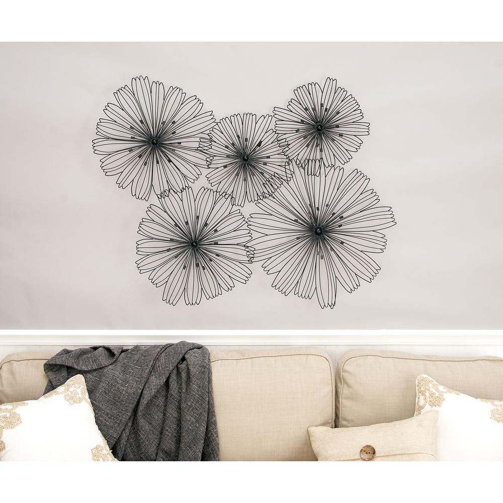 Modern Metallic Black Multi-Sized Iron Floral Wall Decor
