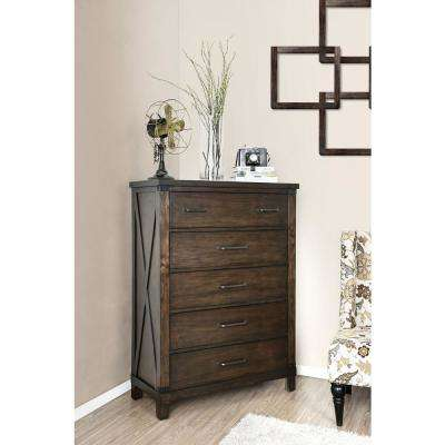 Bianca Dark Walnut Transitional Style Bedroom Chest