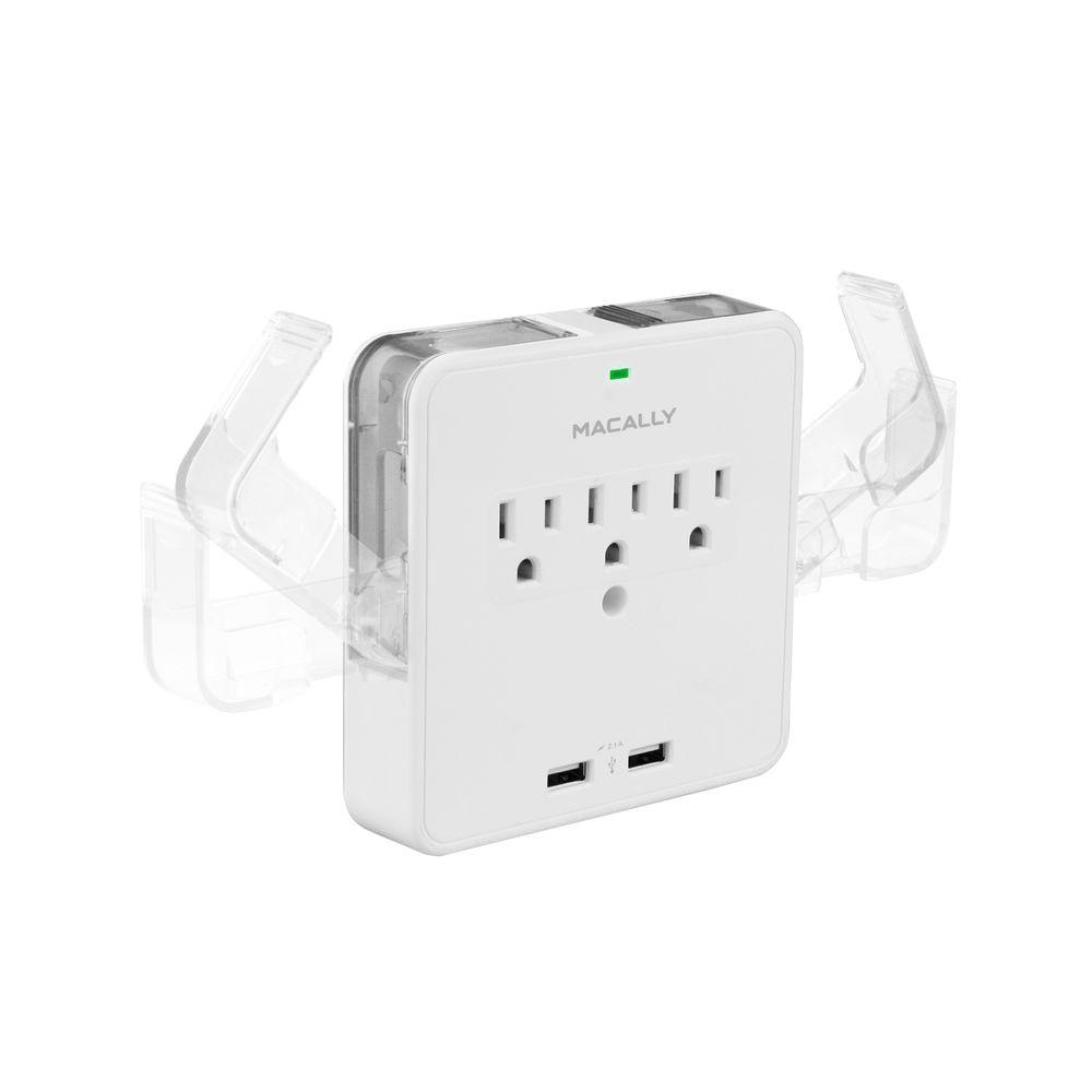 Macally Wall AC Outlet with 2 USB Charging Port