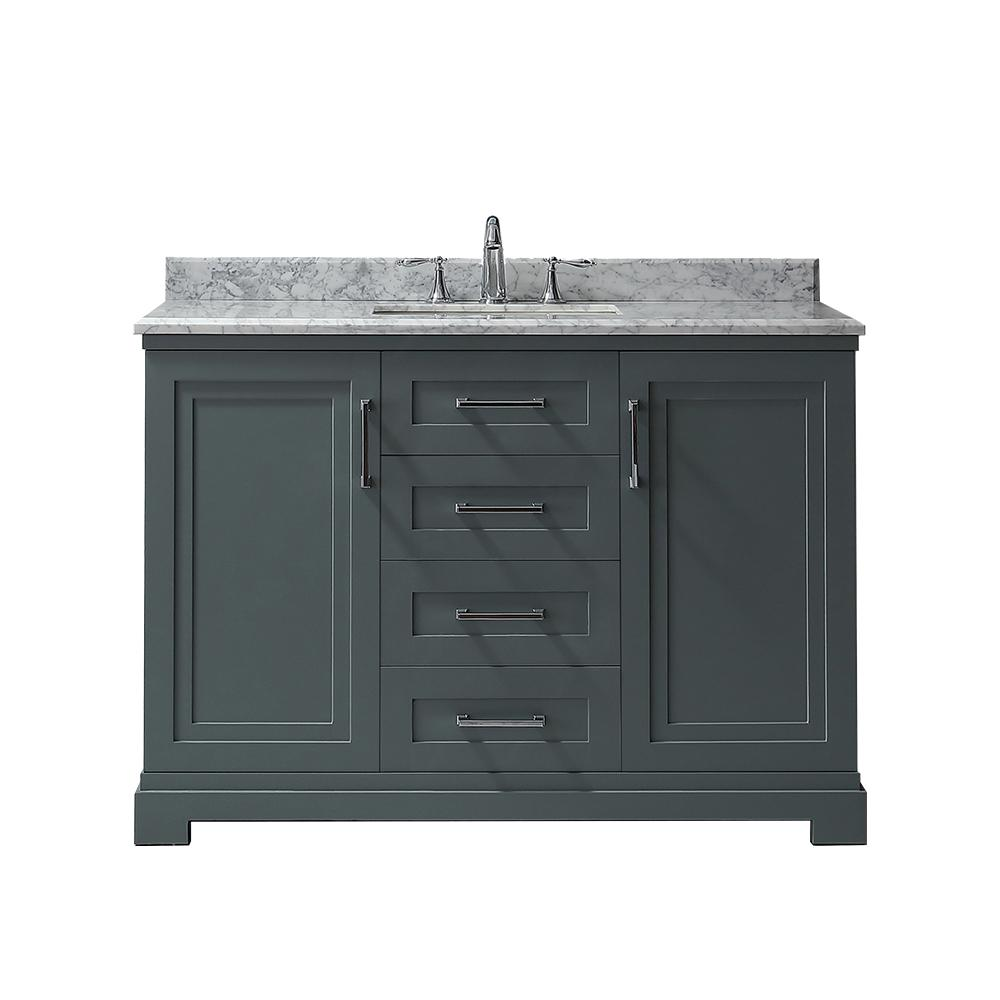 Martha Stewart Living Lynn 48 in. W x 22 in. D Vanity in School House Slate with Marble Vanity Top in White with White Basin