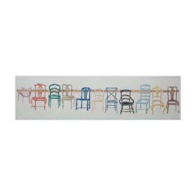 "15 in. x 60 in. ""Chair Display"" Hand Painted Framed Canvas Wall Art"