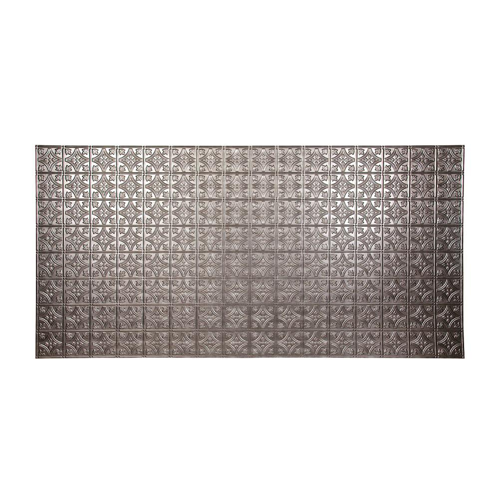 fasade 96 in x 48 in traditional 1 decorative wall panel in crosshatch silver s50 21 the. Black Bedroom Furniture Sets. Home Design Ideas