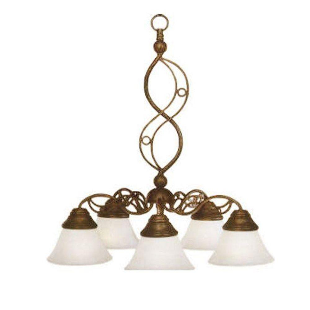 Concord Series 5-Light Bronze Chandelier with White Marble Glass Shade