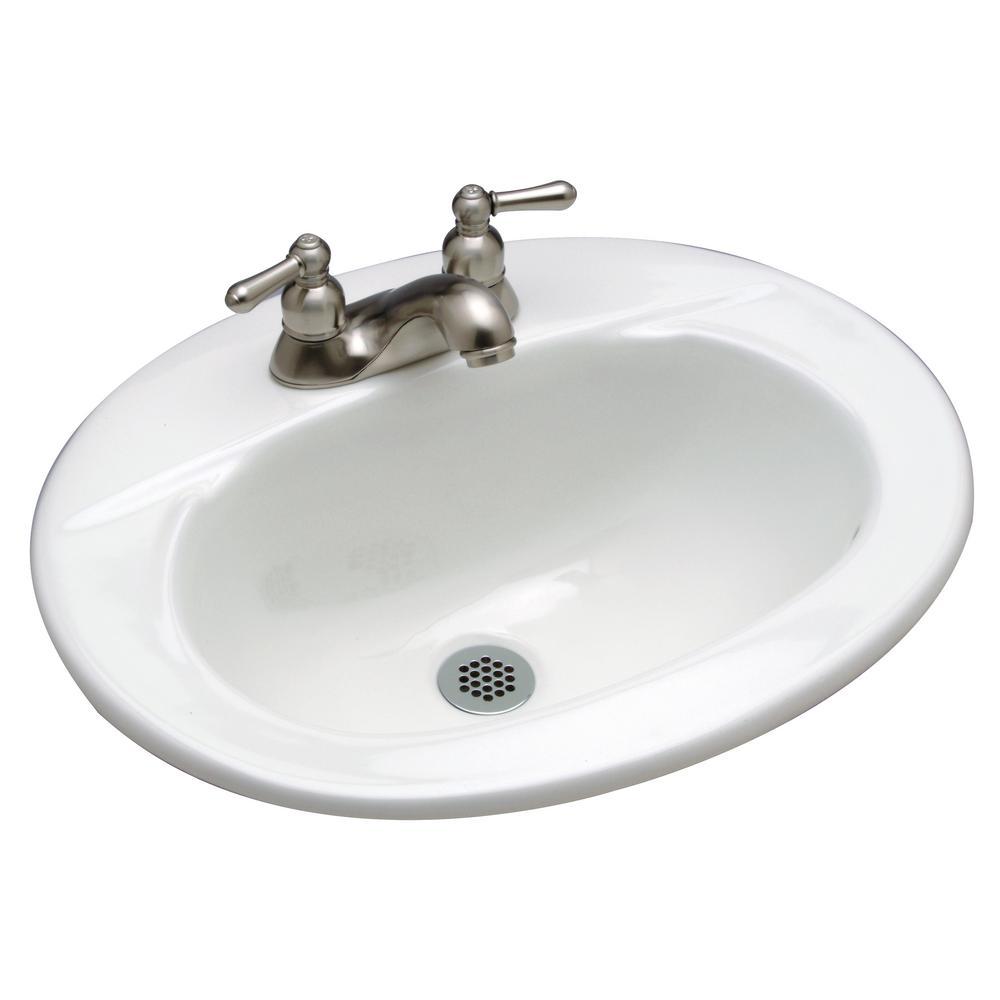 Drop-In Bathroom Sink in White