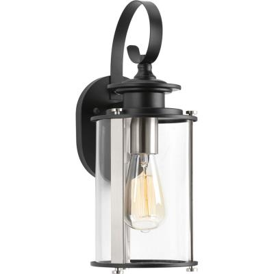 Squire Collection 1-Light Black 14.75 in. Outdoor Wall Lantern Sconce