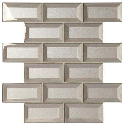 Decor Accents Silver 12 in. x 12 in. x 8 mm Glass Brick Joint Mosaic Wall Tile
