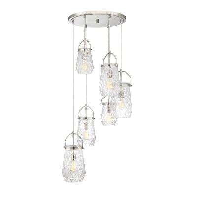 6-Light Polished Nickel Chandelier with Clear Cut
