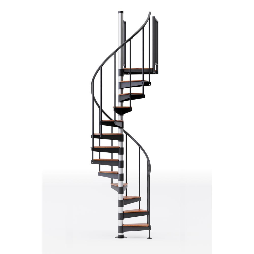 "Mylen STAIRS Reroute Prime 42"" (3ft 6in) Wide 9 Treads with 2 42""H Platform Rails Spiral Stair Kit"