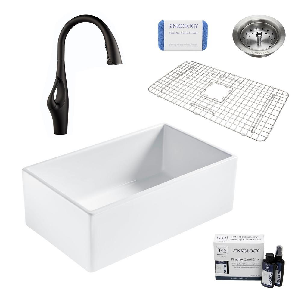 Sinkology Bradstreet Ii All In One Farmhouse Fireclay 30 In Single Bowl Kitchen Sink With Pfister Black Faucet And Drain Sk499 30 Ihb B The Home Depot