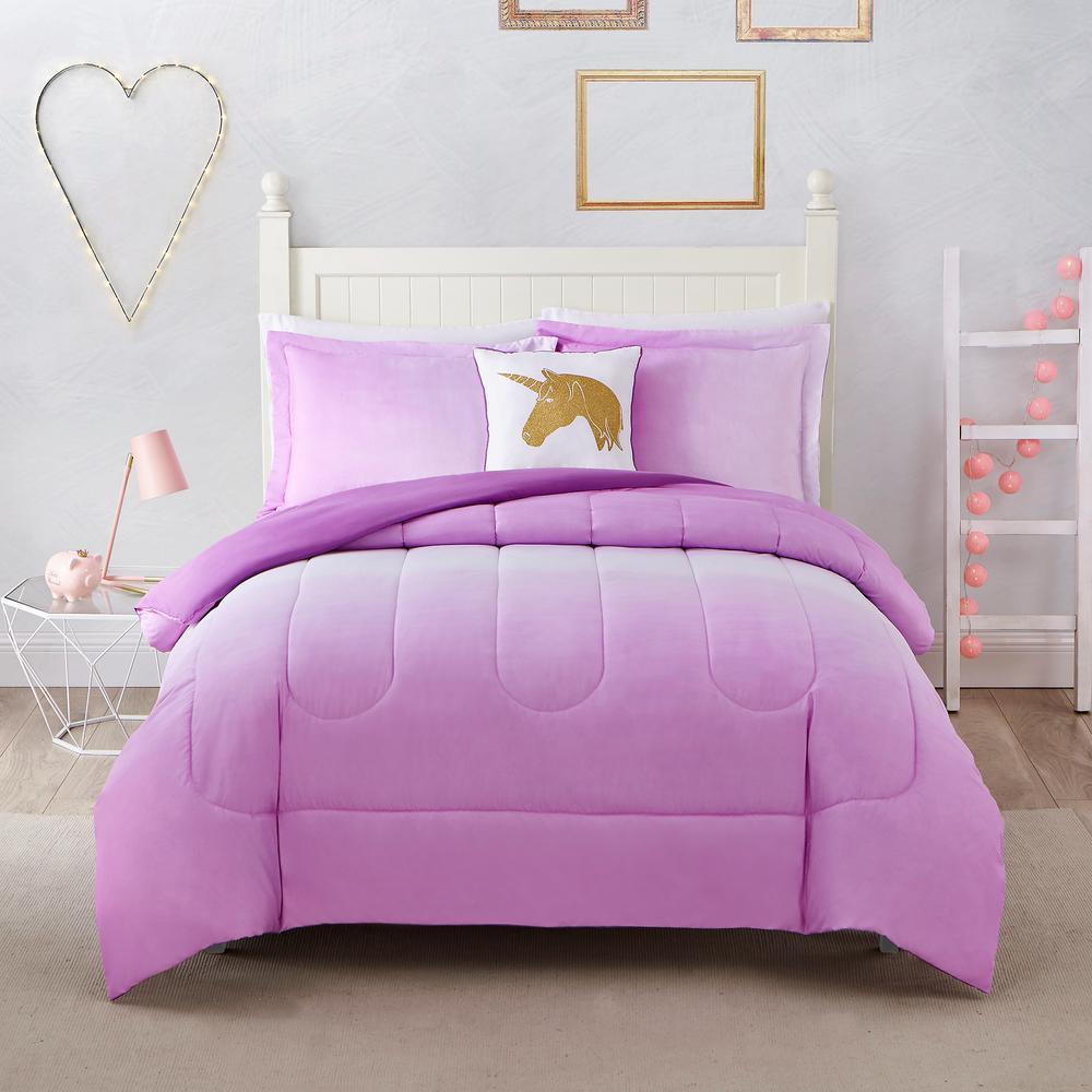 Jada Ombre 4-Piece Pink Full Comforter Set by